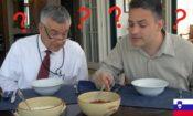 American Diplomats Tasting Slovene Traditional Food